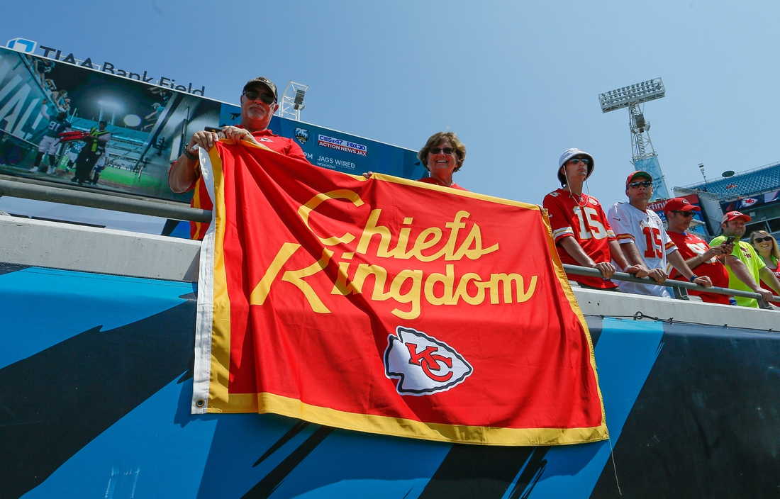 Sep 8, 2019; Jacksonville, FL, USA; Kansas City Chiefs fans fly banners before the game against the Jacksonville Jaguars at TIAA Bank Field. Mandatory Credit: Reinhold Matay-USA TODAY Sports