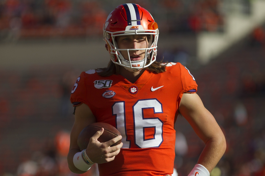 Nov 16, 2019; Clemson, SC, USA; Clemson Tigers quarterback Trevor Lawrence (16) warms up before a game against the Wake Forest Demon Deacons at Clemson Memorial Stadium. Mandatory Credit: Joshua S. Kelly-USA TODAY Sports
