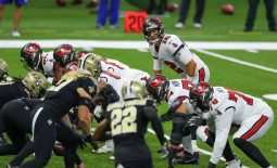 Sep 13, 2020; New Orleans, Louisiana, USA; Tampa Bay Buccaneers quarterback Tom Brady (12) against the New Orleans Saints during the first quarter at the Mercedes-Benz Superdome. Mandatory Credit: Derick E. Hingle-USA TODAY Sports