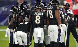 Sep 28, 2020; Baltimore, Maryland, USA; Baltimore Ravens  quarterback Lamar Jackson (8) huddles the offense in the first quarter against the Kansas City Chiefs at M&T Bank Stadium. Mandatory Credit: Mitch Stringer-USA TODAY Sports