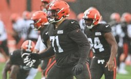 Aug 17, 2020; Berea, Ohio, USA;  Cleveland Browns offensive tackle Jedrick Wills Jr. (71) works on his footwork during training camp at the Cleveland Browns training facility. Mandatory Credit: Ken Blaze-USA TODAY Sports