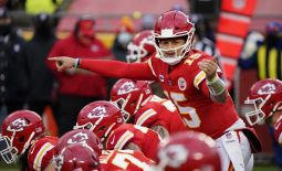 Jan 17, 2021; Kansas City, Missouri, USA; Kansas City Chiefs quarterback Patrick Mahomes (15) before the snap against the Cleveland Browns during the second half in the AFC Divisional Round playoff game at Arrowhead Stadium. Mandatory Credit: Jay Biggerstaff-USA TODAY Sports