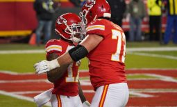 Jan 24, 2021; Kansas City, MO, USA; Kansas City Chiefs wide receiver Mecole Hardman (17) celebrates with offensive tackle Eric Fisher (72) after scoring a touchdown against the Buffalo Bills during the second quarter in the AFC Championship Game at Arrowhead Stadium. Mandatory Credit: Denny Medley-USA TODAY Sports