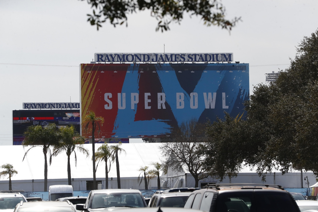 Jan 31, 2021; Tampa, Florida, USA; A general view of signage for Super Bowl LV at Raymond James Stadium  Mandatory Credit: Kim Klement-USA TODAY Sports