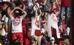 Nov 7, 2020; Norman, Oklahoma, USA; Oklahoma Sooners fans cheer during the first half against the Kansas Jayhawks  at Gaylord Family-Oklahoma Memorial Stadium. Mandatory Credit: Kevin Jairaj-USA TODAY Sports