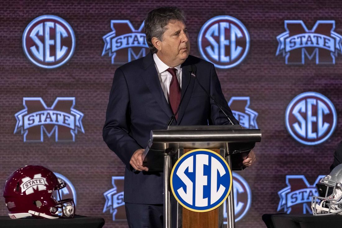 Jul 21, 2021; Hoover, Alabama, USA; Mississippi State Bulldogs head coach Mike Leach speaks to the media during SEC Media Days at Hyatt Regency Birmingham. Mandatory Credit: Vasha Hunt-USA TODAY Sports