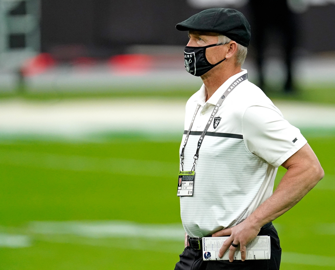 Nov 15, 2020; Paradise, Nevada, USA; Las Vegas Raiders general manager Mike Mayock prior to a game against the Denver Broncos at Allegiant Stadium. Mandatory Credit: Kirby Lee-USA TODAY Sports