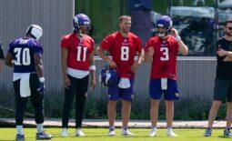 Jun 9, 2021; Minnesota Vikings quarterback Kellen Mond (11), quarterback Kirk Cousins (8), and quarterback Jake Browning (3) talk during drills at OTA at TCO Performance Center. Mandatory Credit: Brad Rempel-USA TODAY Sports
