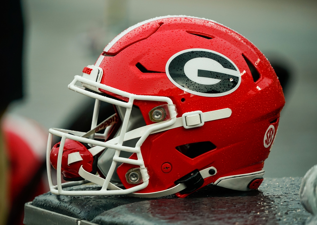 Dec 12, 2020; Columbia, Missouri, USA; A detailed view of a Georgia Bulldogs helmet during the second half against the Missouri Tigers at Faurot Field at Memorial Stadium. Mandatory Credit: Jay Biggerstaff-USA TODAY Sports
