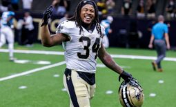 Aug 23, 2021; New Orleans, Louisiana, USA;  New Orleans Saints running back Devonta Freeman (34) walks to the locker room after the game against Jacksonville Jaguars during the second half at Caesars Superdome. Mandatory Credit: Stephen Lew-USA TODAY Sports