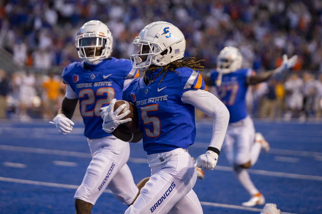 Sep 10, 2021; Boise, Idaho, USA; Boise State Broncos wide receiver Stefan Cobbs (5) returns a punt for a touchdown during the first half against the UTEP Miners at Albertsons Stadium. Mandatory Credit: Brian Losness-USA TODAY Sports