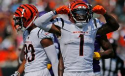 Cincinnati Bengals wide receiver Ja'Marr Chase (1) celebrates a catch in the second quarter of the NFL Week One game between the Cincinnati Bengals and the Minnesota Vikings at Paul Brown Stadium in downtown Cincinnati on Sunday, Sept. 12, 2021. The Bengals led 14-7 at halftime.  Minnesota Vikings At Cincinnati Bengals