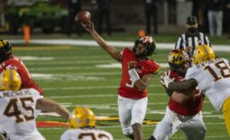 Oct 30, 2020; College Park, Maryland, USA;   Maryland Terrapins quarterback Taulia Tagovailoa (3) throws from the pocket during the first quarter against the Minnesota Golden Gophers  at Capital One Field at Maryland Stadium. Mandatory Credit: Tommy Gilligan-USA TODAY Sports