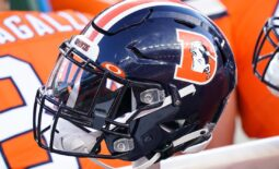 Dec 19, 2020; Denver, Colorado, USA; A general view of the Denver Broncos helmet on sidelines against the Buffalo Bills during the second quarter at Empower Field at Mile High. Mandatory Credit: Troy Babbitt-USA TODAY Sports