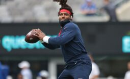 Aug 29, 2021; East Rutherford, New Jersey, USA; New England Patriots quarterback Cam Newton (1) throws the ball prior to the game against the New York Giants at MetLife Stadium. Mandatory Credit: Vincent Carchietta-USA TODAY Sports