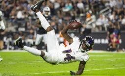 Sep 13, 2021; Paradise, Nevada, USA; Baltimore Ravens wide receiver Sammy Watkins (14) against the Las Vegas Raiders during Monday Night Football at Allegiant Stadium. Mandatory Credit: Mark J. Rebilas-USA TODAY Sports