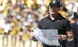 Sep 19, 2021; Pittsburgh, Pennsylvania, USA;  Las Vegas Raiders head coach Jon Gruden looks on from the sidelines against the Pittsburgh Steelers during the second quarter at Heinz Field. Las Vegas won 26-17.  Mandatory Credit: Charles LeClaire-USA TODAY Sports