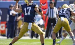 Sep 25, 2021; Chicago, Illinois, USA; Notre Dame Fighting Irish quarterback Jack Coan (17) passes during the first half against the Wisconsin Badgers at Soldier Field. Mandatory Credit: Patrick Gorski-USA TODAY Sports