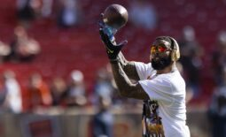 Sep 26, 2021; Cleveland, Ohio, USA; Cleveland Browns wide receiver Odell Beckham Jr. (13) catches the ball during warmups before the game against the Chicago Bears at FirstEnergy Stadium. Mandatory Credit: Scott Galvin-USA TODAY Sports