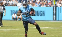Sep 26, 2021; Nashville, Tennessee, USA;  Tennessee Titans wide receiver Julio Jones (2) runs the ball during the first half at Nissan Stadium. Mandatory Credit: Steve Roberts-USA TODAY Sports