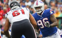 Oct 3, 2021; Orchard Park, New York, USA; Buffalo Bills defensive end Boogie Basham (96) pressures as Houston Texans offensive tackle Marcus Cannon (61) blocks during the first half at Highmark Stadium. Mandatory Credit: Rich Barnes-USA TODAY Sports