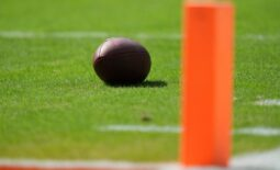 Oct 3, 2021; Miami Gardens, Florida, USA; A detailed view of a football on the field during the second half between the Miami Dolphins and the Indianapolis Colts at Hard Rock Stadium. Mandatory Credit: Jasen Vinlove-USA TODAY Sports
