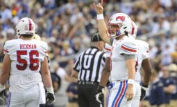 Oct 9, 2021; Annapolis, Maryland, USA;  Southern Methodist Mustangs quarterback Tanner Mordecai (8) signals after a play in the first half against the Navy Midshipmen at Navy-Marine Corps Memorial Stadium. Mandatory Credit: Tommy Gilligan-USA TODAY Sports