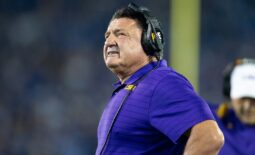 Oct 9, 2021; Lexington, Kentucky, USA; LSU Tigers head coach Ed Orgeron looks on during the second quarter against the Kentucky Wildcats at Kroger Field. Mandatory Credit: Jordan Prather-USA TODAY Sports