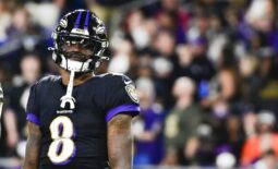 Oct 11, 2021; Baltimore, Maryland, USA;  Baltimore Ravens quarterback Lamar Jackson (8) stands on the field during the first half against the Indianapolis Colts at M&T Bank Stadium. Mandatory Credit: Tommy Gilligan-USA TODAY Sports