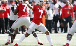 Ohio State Buckeyes quarterback C.J. Stroud (7) throws the ball against Maryland Terrapins during the second quarter of their NCAA college football game at Ohio Stadium in Columbus, Ohio on October 9, 2021.  Osu21mary Kwr 18