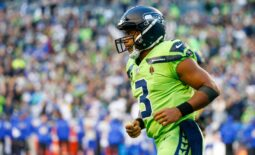Oct 7, 2021; Seattle, Washington, USA; Seattle Seahawks quarterback Russell Wilson (3) returns to the sideline following a series against the Los Angeles Rams the second quarter at Lumen Field. Mandatory Credit: Joe Nicholson-USA TODAY Sports