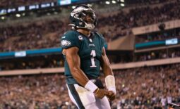 Oct 14, 2021; Philadelphia, Pennsylvania, USA; Philadelphia Eagles quarterback Jalen Hurts (1) reacts after his touchdown run against the Tampa Bay Buccaneers during the fourth quarter at Lincoln Financial Field. Mandatory Credit: Bill Streicher-USA TODAY Sports
