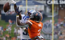 Oct 16, 2021; Charlottesville, Virginia, USA; Duke Blue Devils cornerback Josh Blackwell (31) breaks up a pass in the end zone intended for Virginia Cavaliers wide receiver Dontayvion Wicks (3) during the first quarter at Scott Stadium. Mandatory Credit: Geoff Burke-USA TODAY Sports