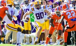 Oct 16, 2021; Baton Rouge, Louisiana, USA; LSU Tigers wide receiver Jack Bech (80) runs against Florida Gators safety Rashad Torrence II (22) during the first half  at Tiger Stadium. Mandatory Credit: Stephen Lew-USA TODAY Sports