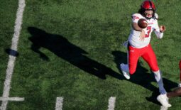 Oct 16, 2021; Lawrence, Kansas, USA; Texas Tech Red Raiders quarterback Henry Colombi (3) throws a pass against the Kansas Jayhawksduring the first half at David Booth Kansas Memorial Stadium. Mandatory Credit: Denny Medley-USA TODAY Sports