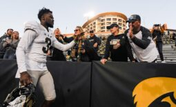 Oct 16, 2021; Iowa City, Iowa, USA; Purdue Boilermakers wide receiver David Bell (3) reacts with fans after a game against the Iowa Hawkeyes at Kinnick Stadium. Mandatory Credit: Jeffrey Becker-USA TODAY Sports