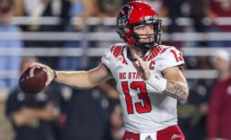 Oct 16, 2021; Chestnut Hill, Massachusetts, USA; North Carolina State Wolfpack quarterback Devin Leary (13) passes the ball during the first half against the Boston College Eagles at Alumni Stadium. Mandatory Credit: Paul Rutherford-USA TODAY Sports