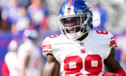 New York Giants wide receiver Kadarius Toney (89) on the field for warm ups MetLife Stadium on Sunday, Oct. 17, 2021, in East Rutherford.  Nyg Vs Lar
