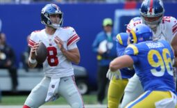 Oct 17, 2021; East Rutherford, New Jersey, USA; New York Giants quarterback Daniel Jones (8) drops back to pass against the Los Angeles Rams during the second quarter at MetLife Stadium. Mandatory Credit: Brad Penner-USA TODAY Sports