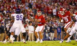 Oct 16, 2021; Norman, Oklahoma, USA; Oklahoma Sooners quarterback Caleb Williams (13) in action during the game  against the TCU Horned Frogs at Gaylord Family-Oklahoma Memorial Stadium. Mandatory Credit: Kevin Jairaj-USA TODAY Sports